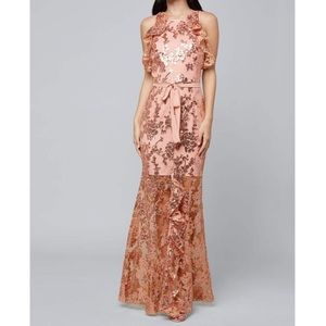 Bebe Ruffle Sequin Lace Gown Pale Blush Dress NWT